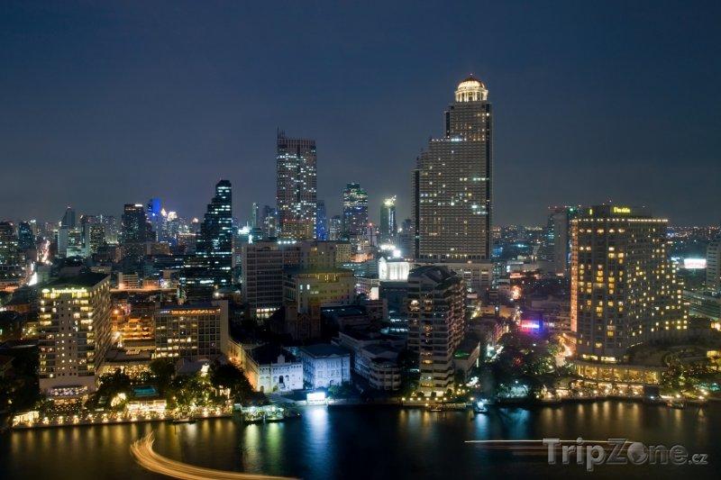 Fotka, Foto Bangkok, noční pohled na město (Thajsko)