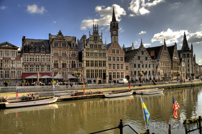 Fotka, Foto Historické domy na nábřeží (Gent, Belgie)