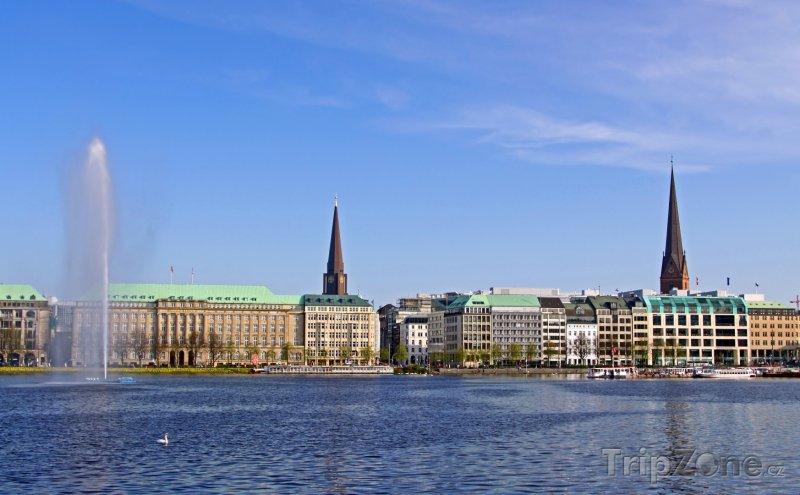 Fotka, Foto Jezero Alster v Hamburku (Hamburk, Německo)