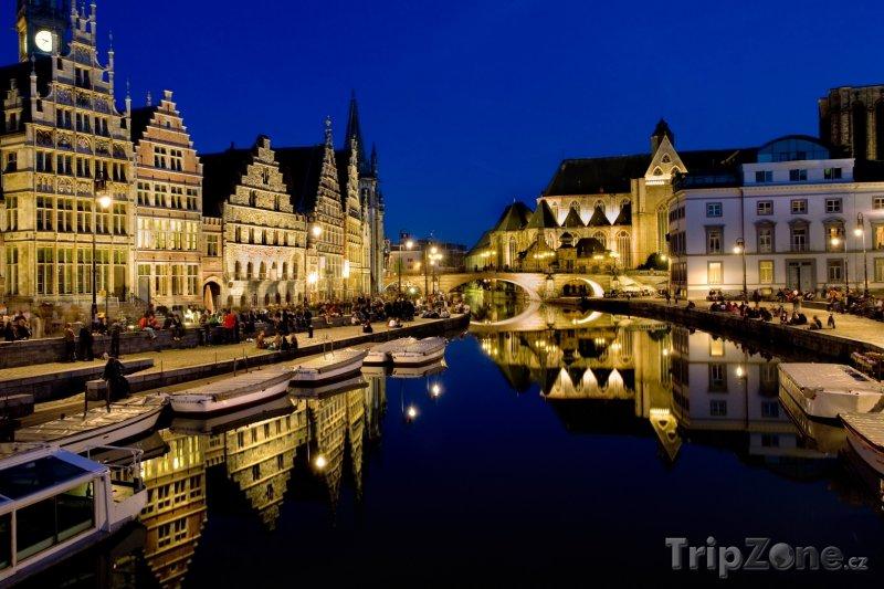 Fotka, Foto Nábřeží v noci (Gent, Belgie)