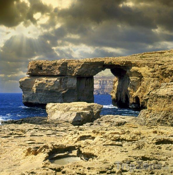Fotka, Foto Ostrov Gozo, skalní útvar Azurové okno (Malta)