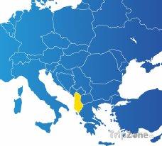 Poloha Albánie na mapě Evropy