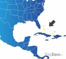 Poloha Baham na mapě Severní Ameriky