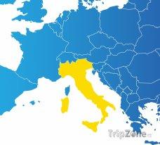 Poloha Itálie na mapě Evropy