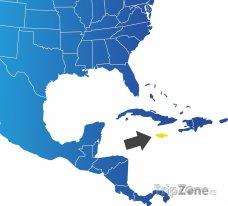Poloha Jamajky na mapě Severní Ameriky