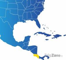 Poloha Kostariky na mapě Severní Ameriky