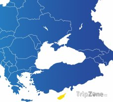 Poloha Kypru na mapě Evropy