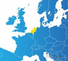 Poloha Nizozemska na mapě Evropy