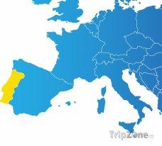 Poloha Portugalska na mapě Evropy