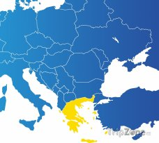 Poloha Řecka na mapě Evropy