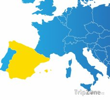Poloha Španělska na mapě Evropy