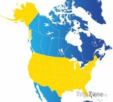 Poloha USA na mapě Severní Ameriky