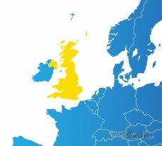 Poloha Velké Británie na mapě Evropy