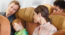 Spící dítě při letu