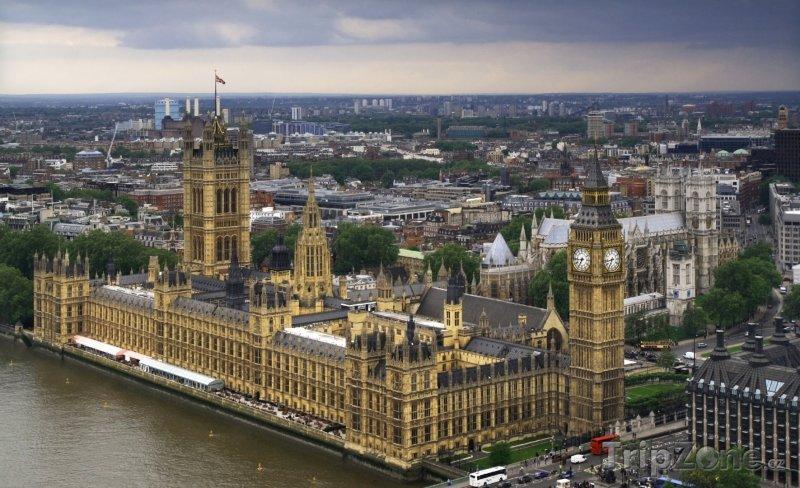 Fotka, Foto Westminsterský palác a Big Ben, pohled z London Eye (Londýn, Velká Británie)