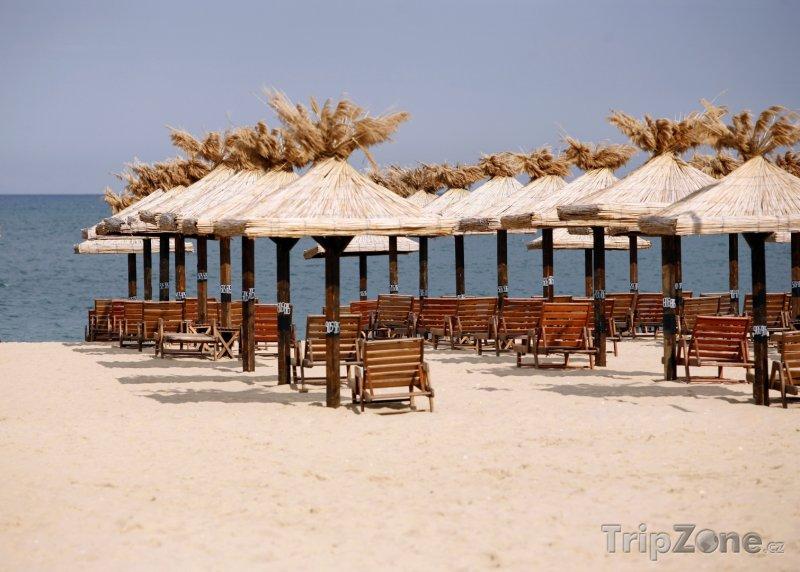 Fotka, Foto Zlaté Písky, slunečníky na pláži (Severní pobřeží, Bulharsko)