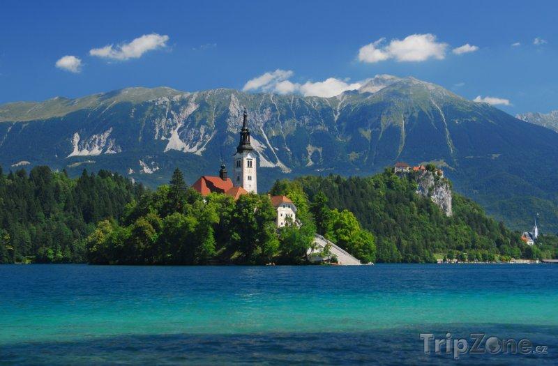 Fotka, Foto Bledské jezero pod hřebeny Julských Alp (Slovinsko)
