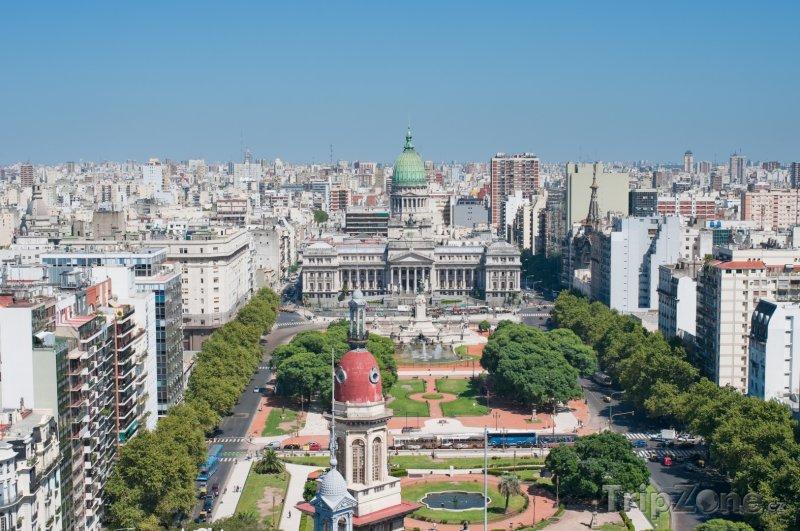 Fotka, Foto Buenos Aires, panoráma města, veprostřed budova Národního kongre (Argentina)