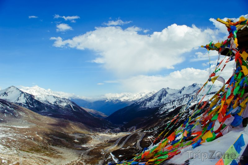 Fotka, Foto Hory a modlitební praporky v Tibetu (Čína)