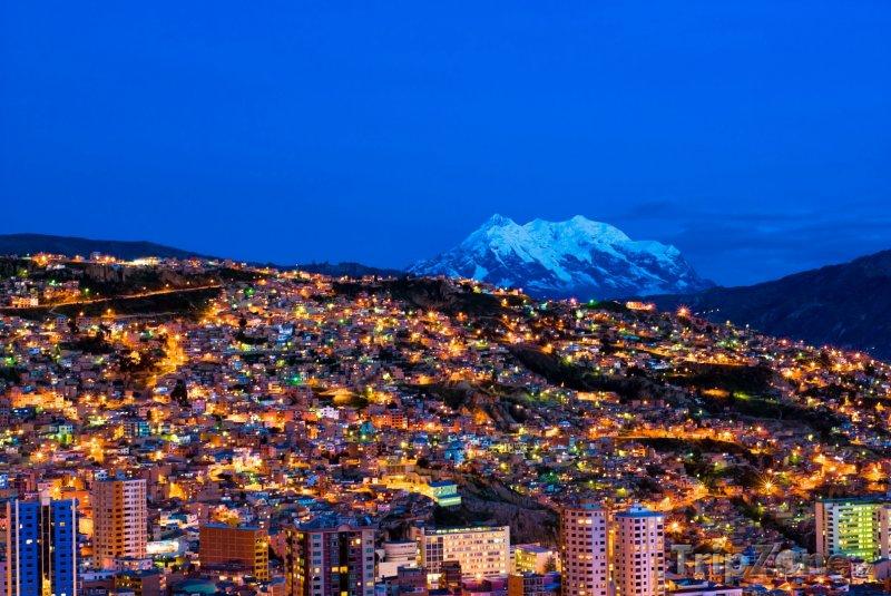 Fotka, Foto La Paz, město v noci (Bolívie)