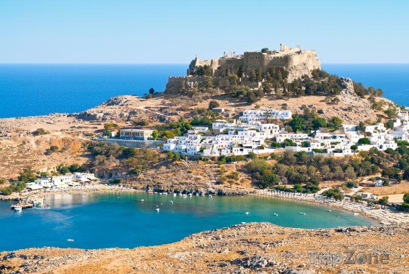Fotka, Foto Lindos, pohled na Akropoli (Rhodos, Řecko)