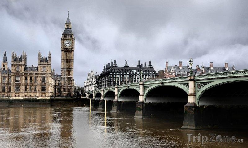 Fotka, Foto Londýn, Big Ben a Westminster Bridge (Velká Británie)