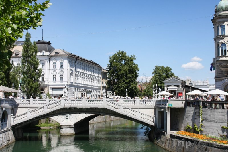 Fotka, Foto Most Tromostovje v Lublani (Lublaň, Slovinsko)