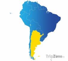 Poloha Argentiny na mapě Jižní Ameriky