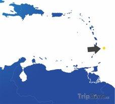Poloha Barbadosu na mapě Karibiku
