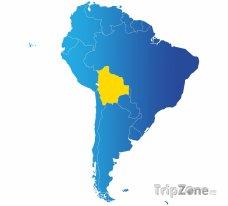 Poloha Bolívie na mapě Jižní Ameriky
