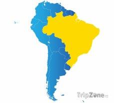 Poloha Brazílie na mapě Jižní Ameriky