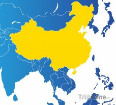 Poloha Číny na mapě Asie