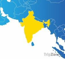Poloha Indie na mapě Asie