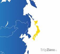 Poloha Japonska na mapě Asie