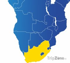 Poloha Jihoafrické republiky na mapě Afriky