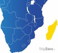 Poloha Madagaskaru na mapě Afriky
