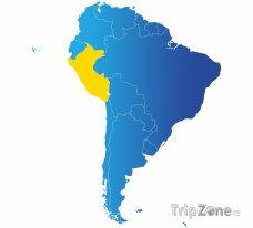 Poloha Peru na mapě Jižní Ameriky