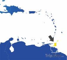 Poloha Trinidadu a Tobaga na mapě Karibiku