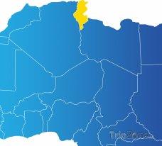 Poloha Tuniska na mapě Afriky