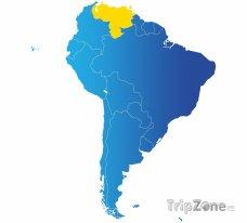 Poloha Venezuely na mapě Jižní Ameriky