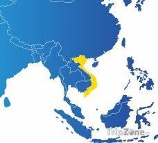 Poloha Vietnamu na mapě Asie