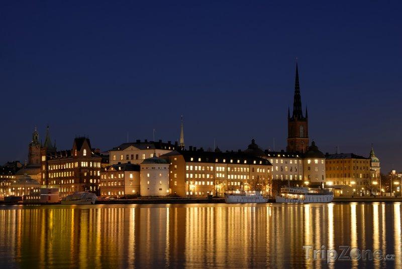 Fotka, Foto Stockholm v noci (Stockholm, Švédsko)