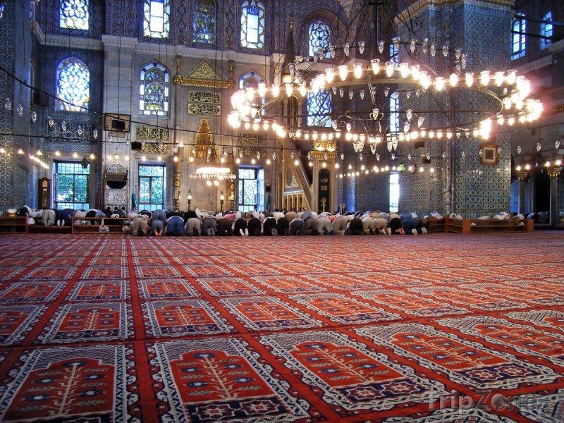 Fotka, Foto Vnitřek Modré mešity v Istanbulu (Turecko)