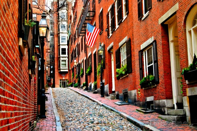 Fotka, Foto Boston, Acorn Street v oblasti Beacon Hill (USA)