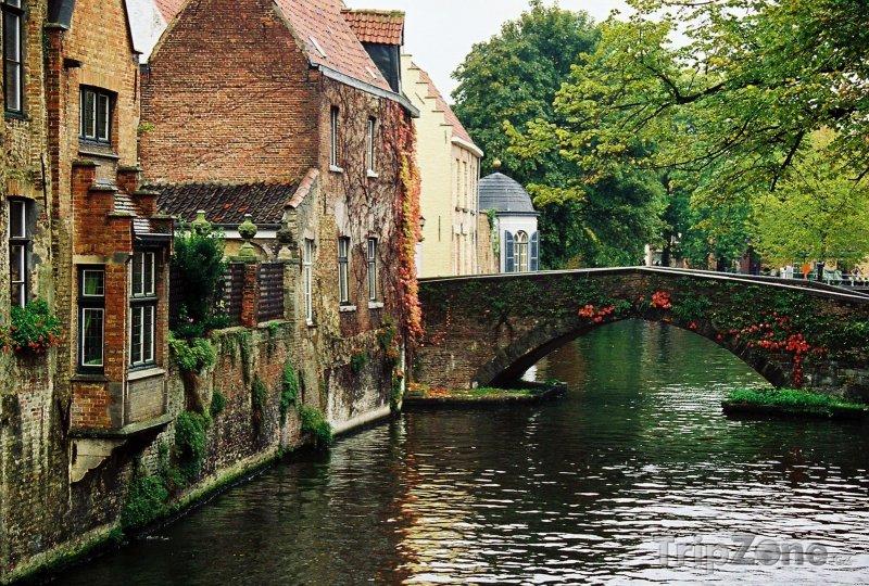 Fotka, Foto Bruggy, most a domy u kanálu (Belgie)