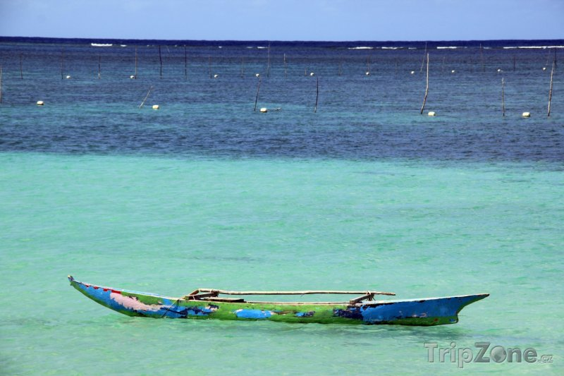 Fotka, Foto Loďka na moři u ostrova Upolu (Samoa)