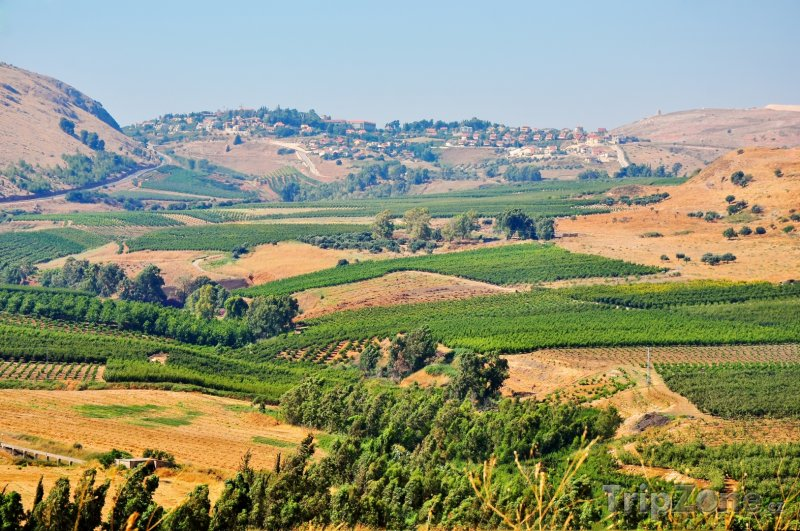 Fotka, Foto Pohled do krajiny a na město Golan (Izrael)