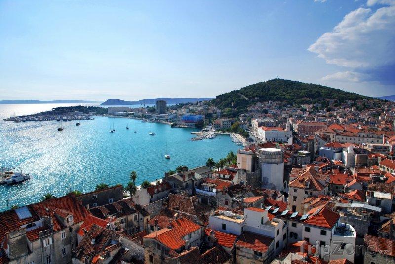 Fotka, Foto Split, přístav z ptačí perspektivy (Chorvatsko)