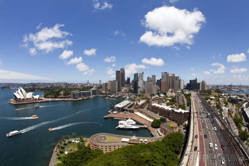 Fotka, Foto Sydneyský přístav z ptačí perspektivy (Sydney, Austrálie)