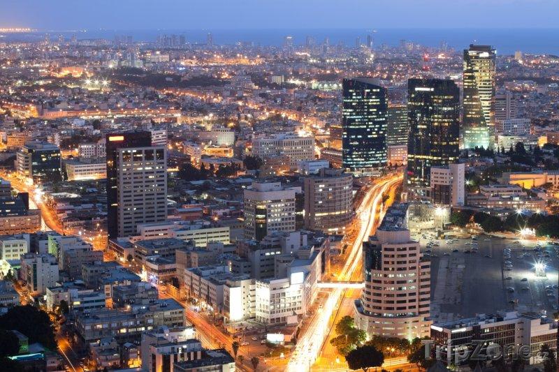 Fotka, Foto Tel Aviv v noci (Izrael)